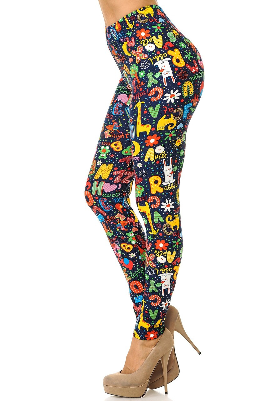 Buttery Soft Animal Letters Plus Size Leggings