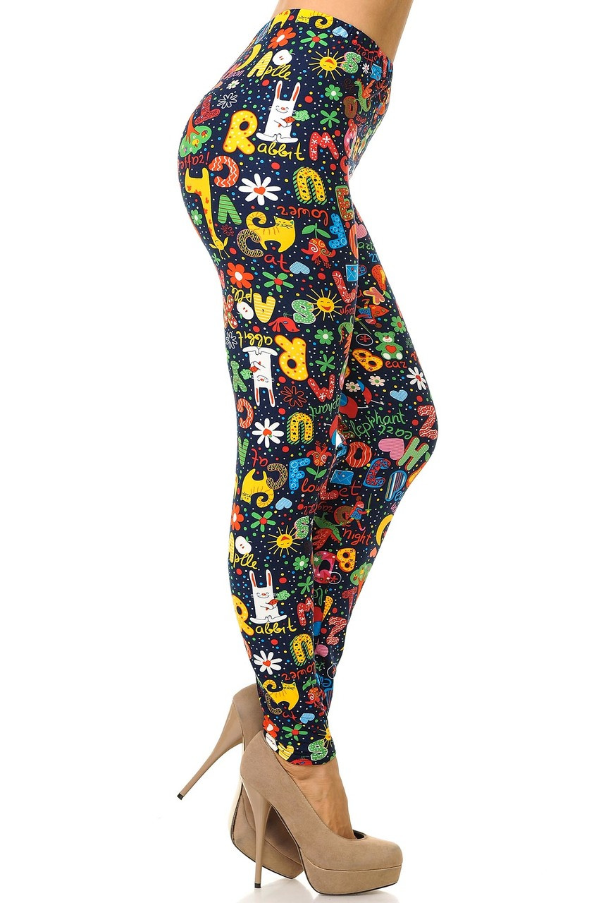 Buttery Soft Animal Letters Plus Size Leggings - 3X - 5X