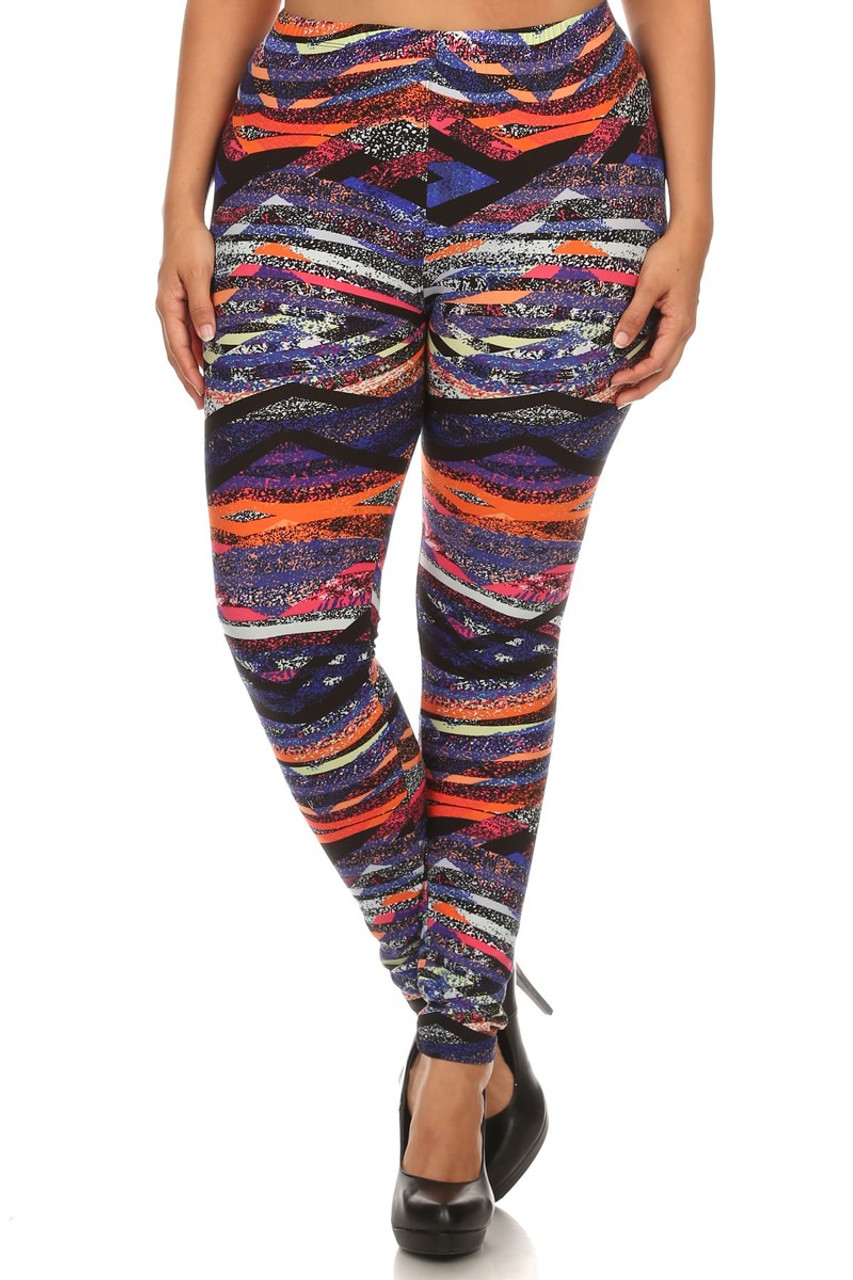 Front side image of Buttery Soft Colorful Bands Plus Size Leggings