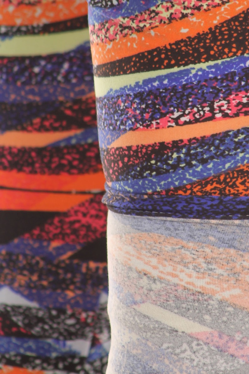 Close up fabric image of Buttery Soft Colorful Bands Plus Size Leggings