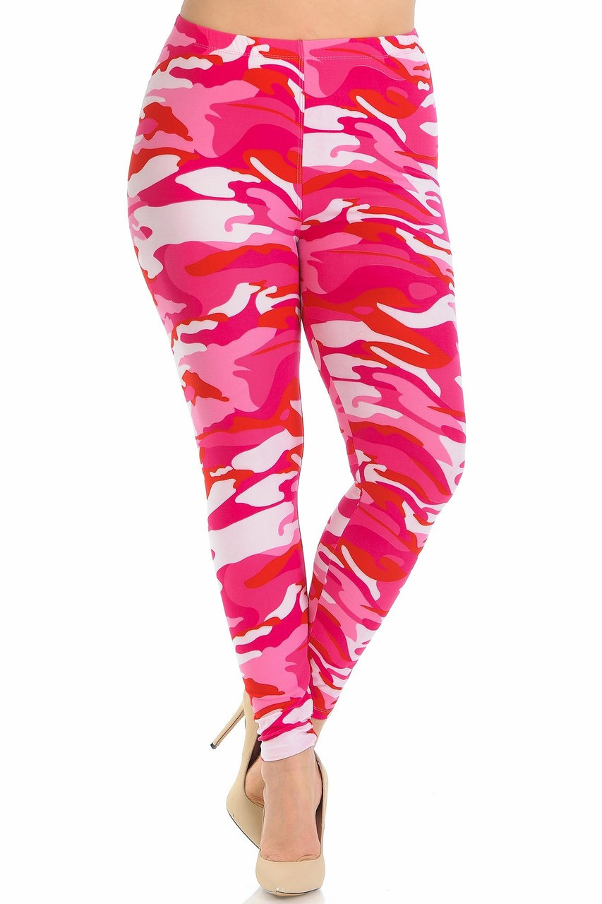 Buttery Soft Pink Camouflage Plus Size Leggings