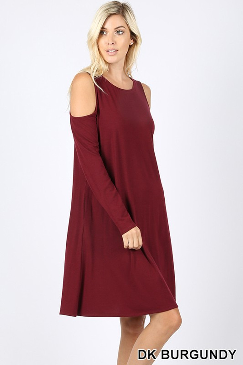 Premium Long Sleeve Cold Shoulder Rayon Tunic with Pockets
