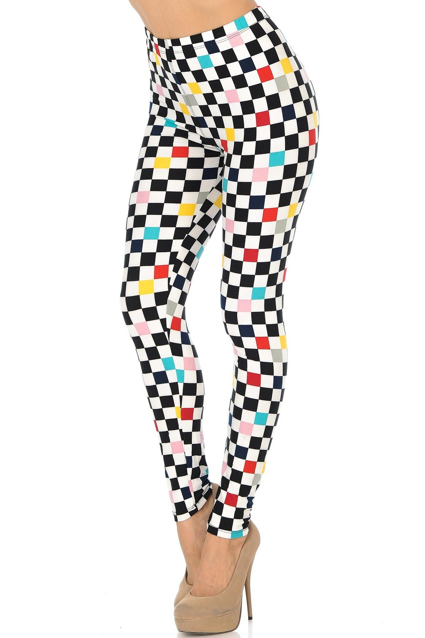 Buttery Soft Color Accent Checkered Plus Size Leggings - 3X-5X