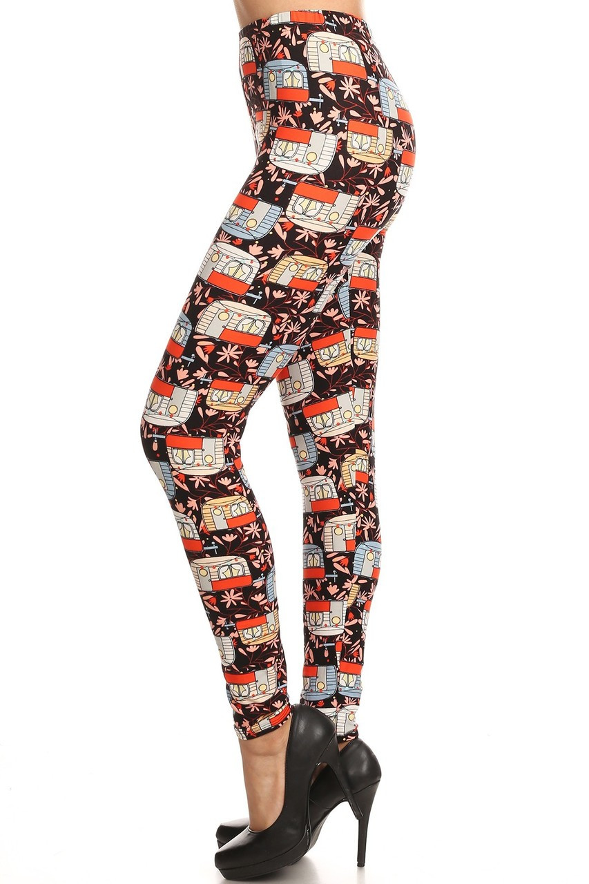 Buttery Soft Summer Campers Plus Size Leggings - 3X-5X
