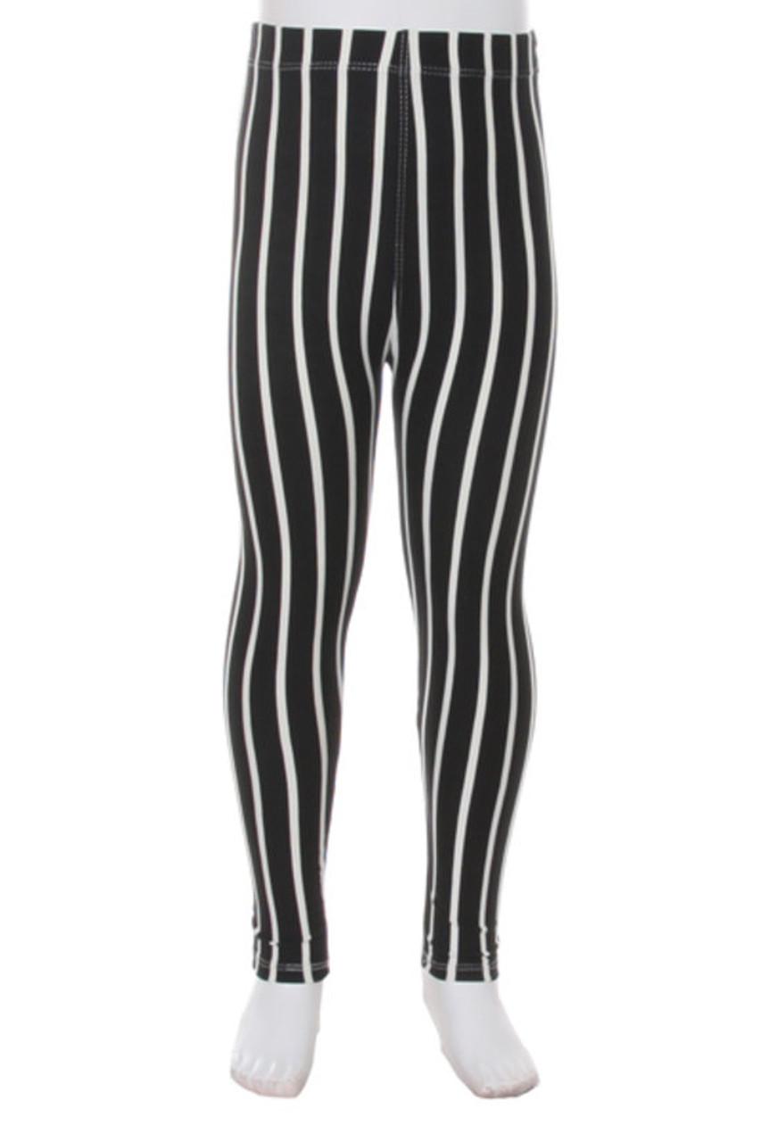 Buttery Soft Black Pinstripe Kids Leggings