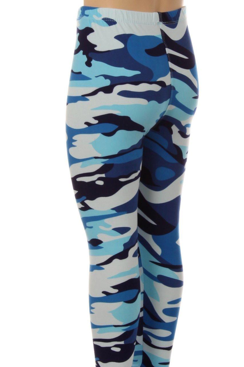 Buttery Soft Blue Camouflage Kids Leggings - EEVEE