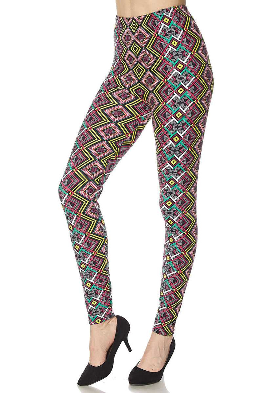 Buttery Soft Angled Colorful Symmetry Leggings