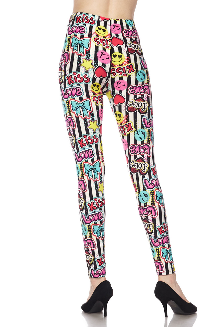 Buttery Soft Stripes Love and Kisses Plus Size Leggings