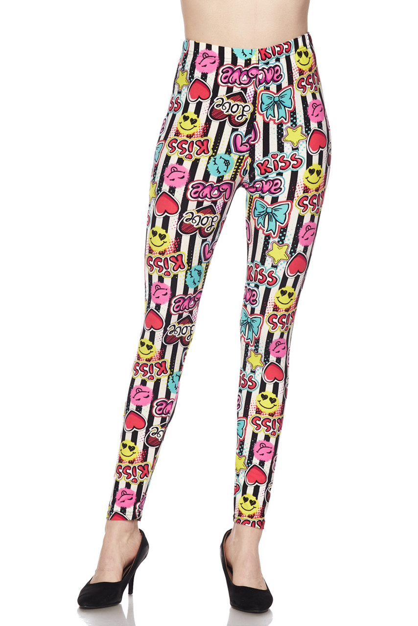 Buttery Soft Stripes Love and Kisses Plus Size Leggings - 3X-5X