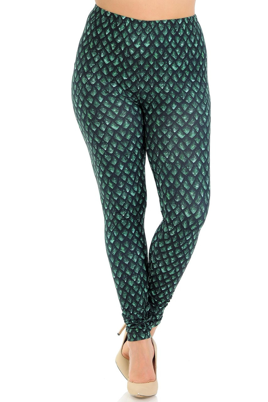 Creamy Soft Green Dragon Scale Plus Size Leggings - Signature Collection