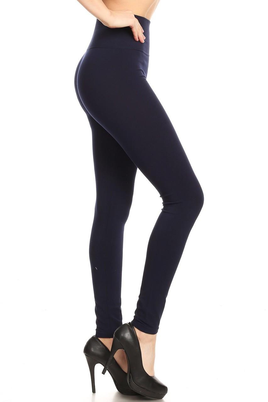 Navy Side Premium High Waisted Basic Leggings