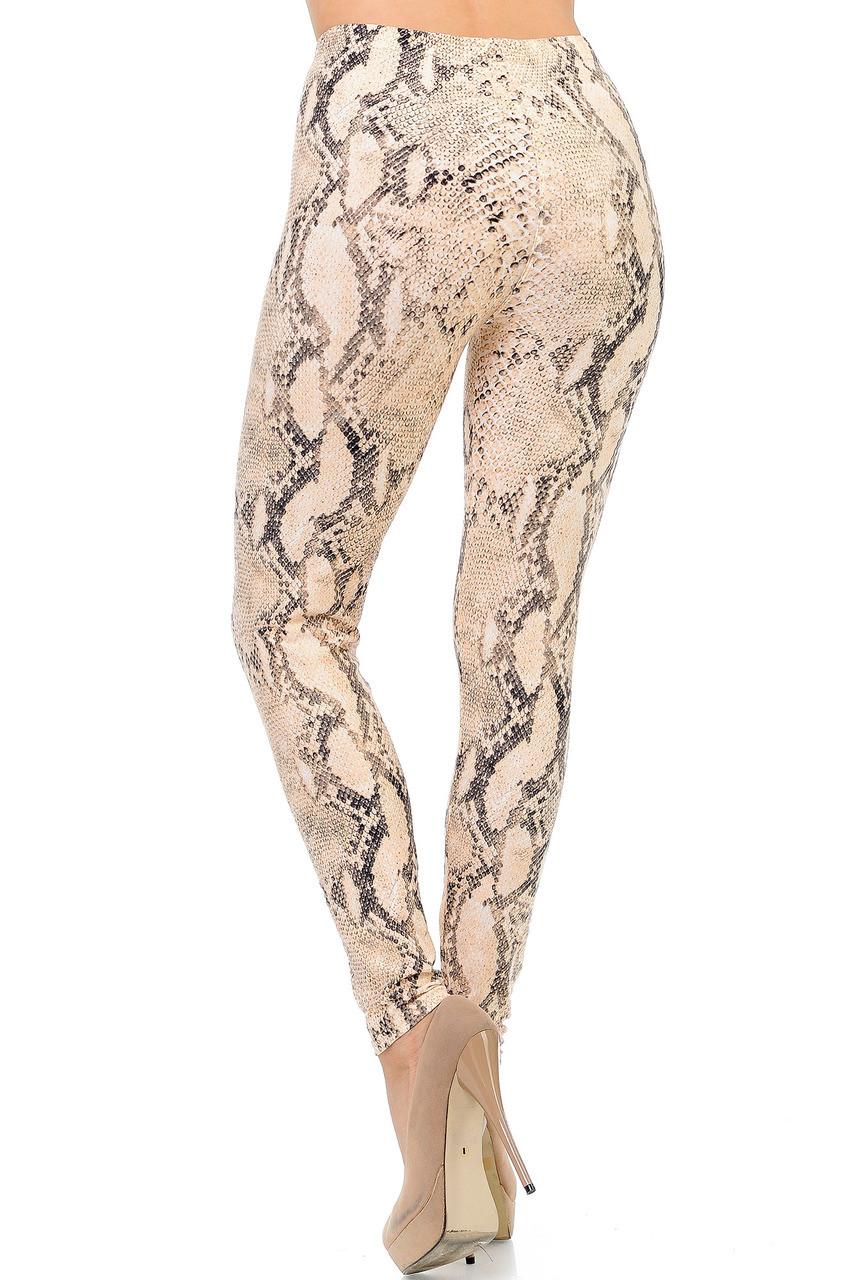 Buttery Soft Cream Snakeskin Plus Size Leggings - 3X-5X