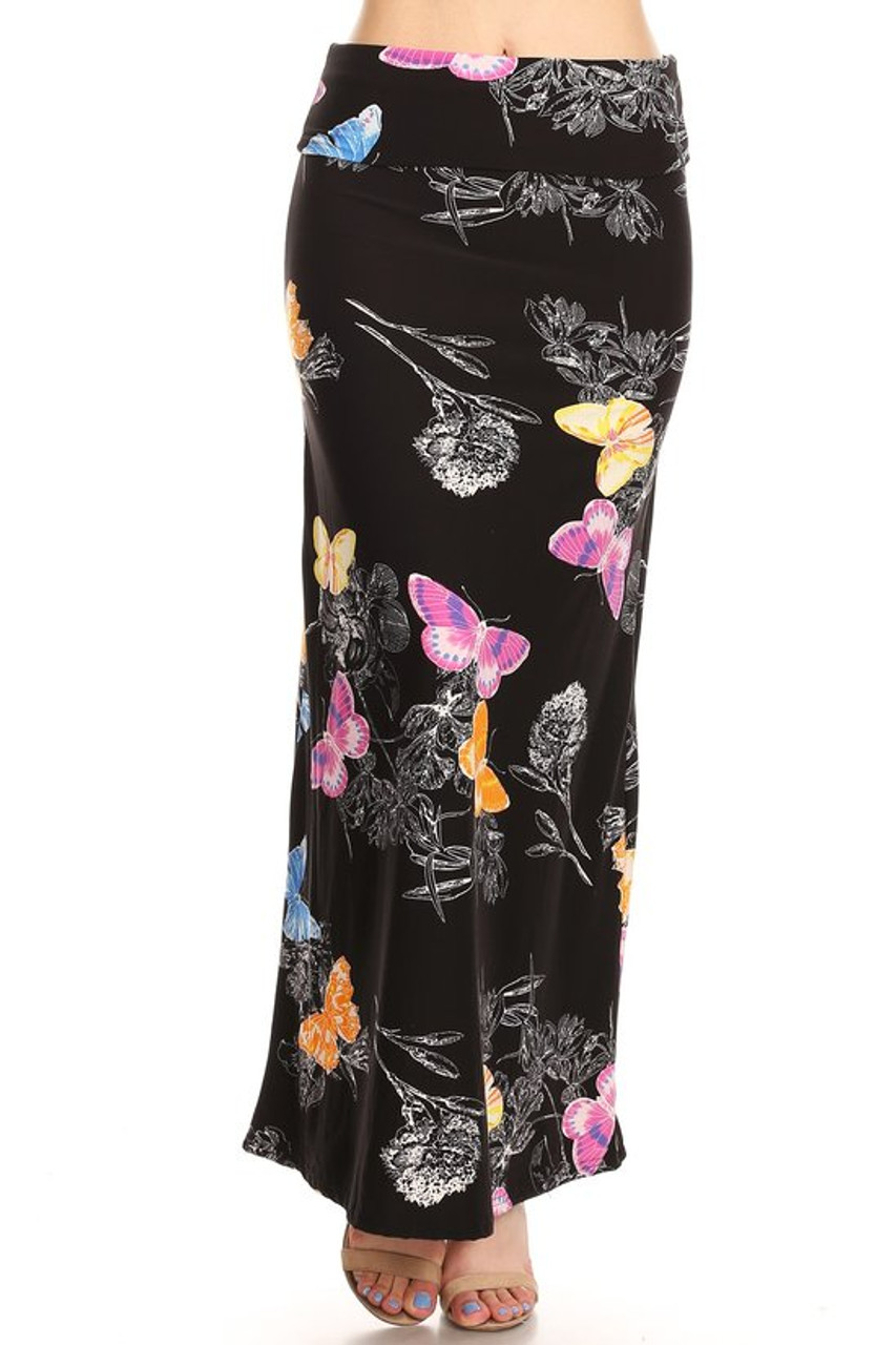 Front image of Buttery Soft Beautiful Butterfly Maxi Skirt