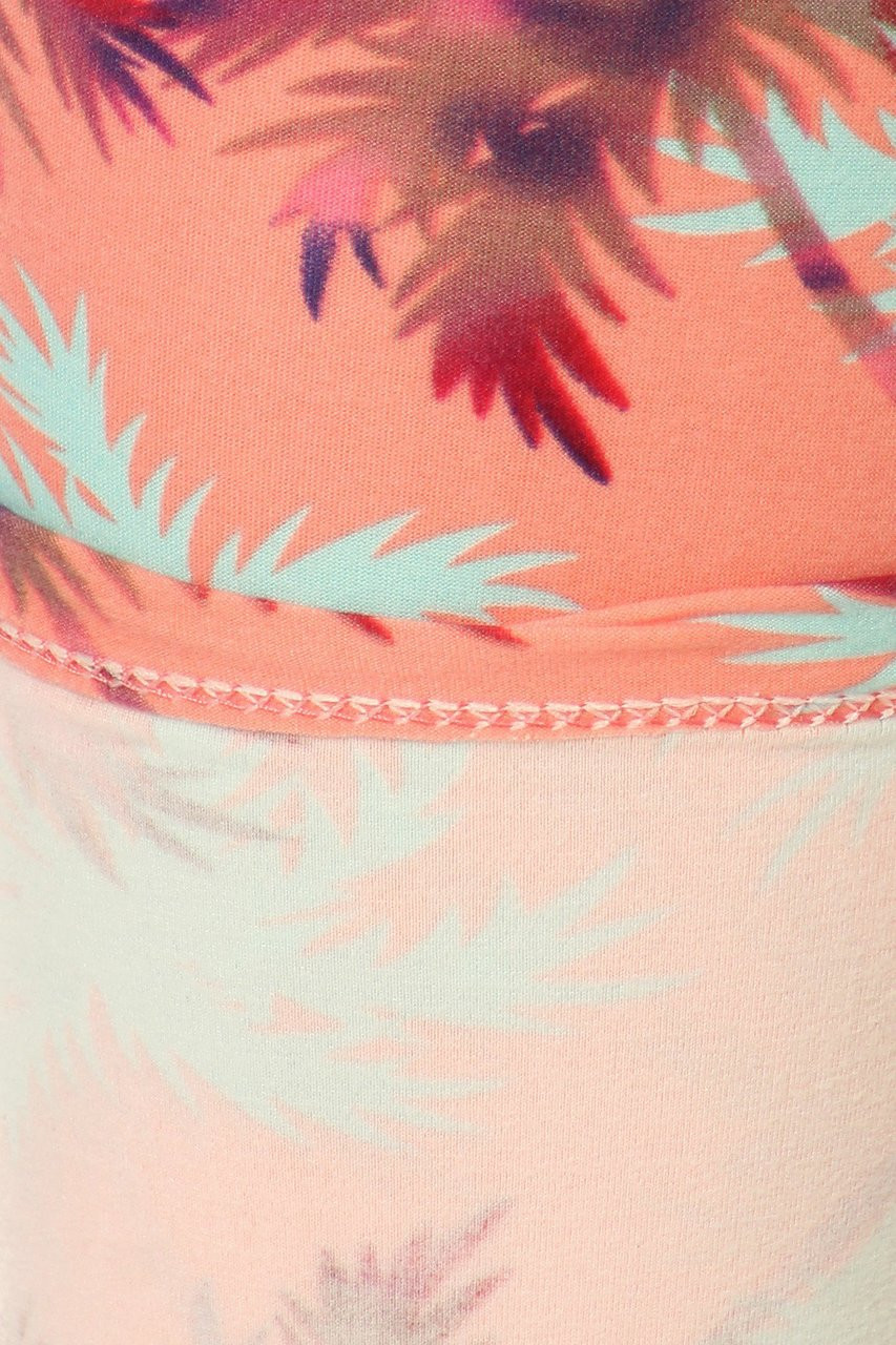 Buttery Soft Peach Palm Trees Kids Leggings