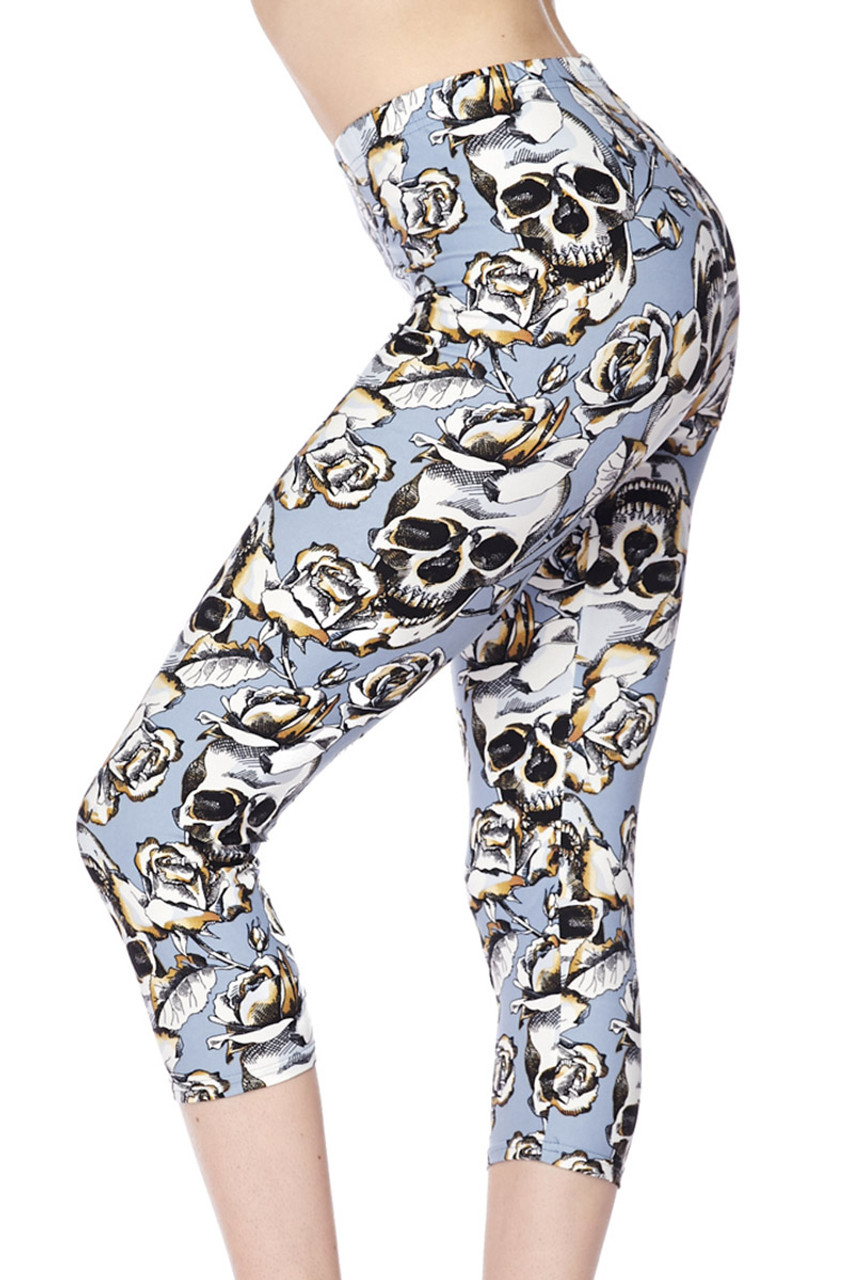 Buttery Soft Charcoal Rose Sugar Skull Capris