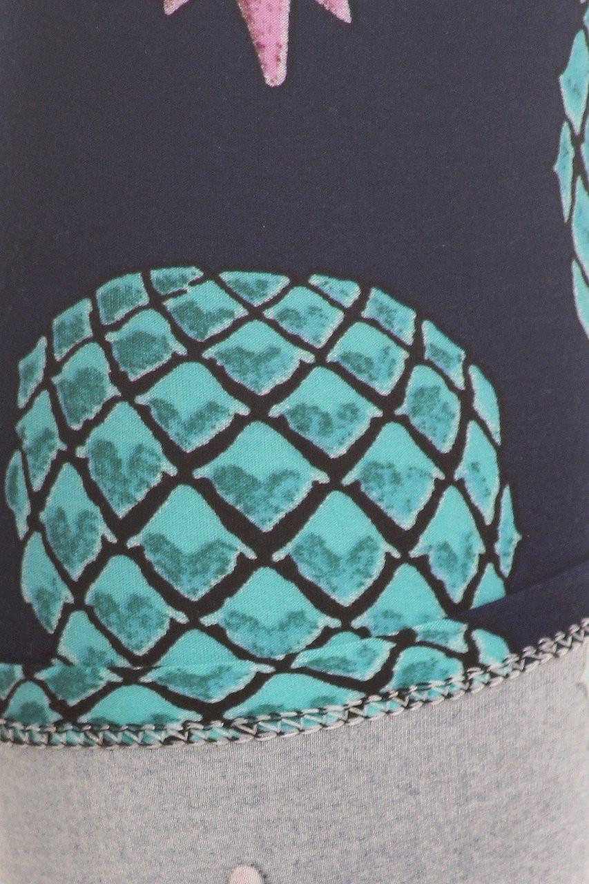 Buttery Soft Teal Pineapple Plus Size Leggings - EEVEE