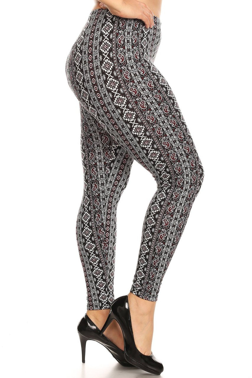 Buttery Soft Vertical Paisley Brocade Plus Size Leggings