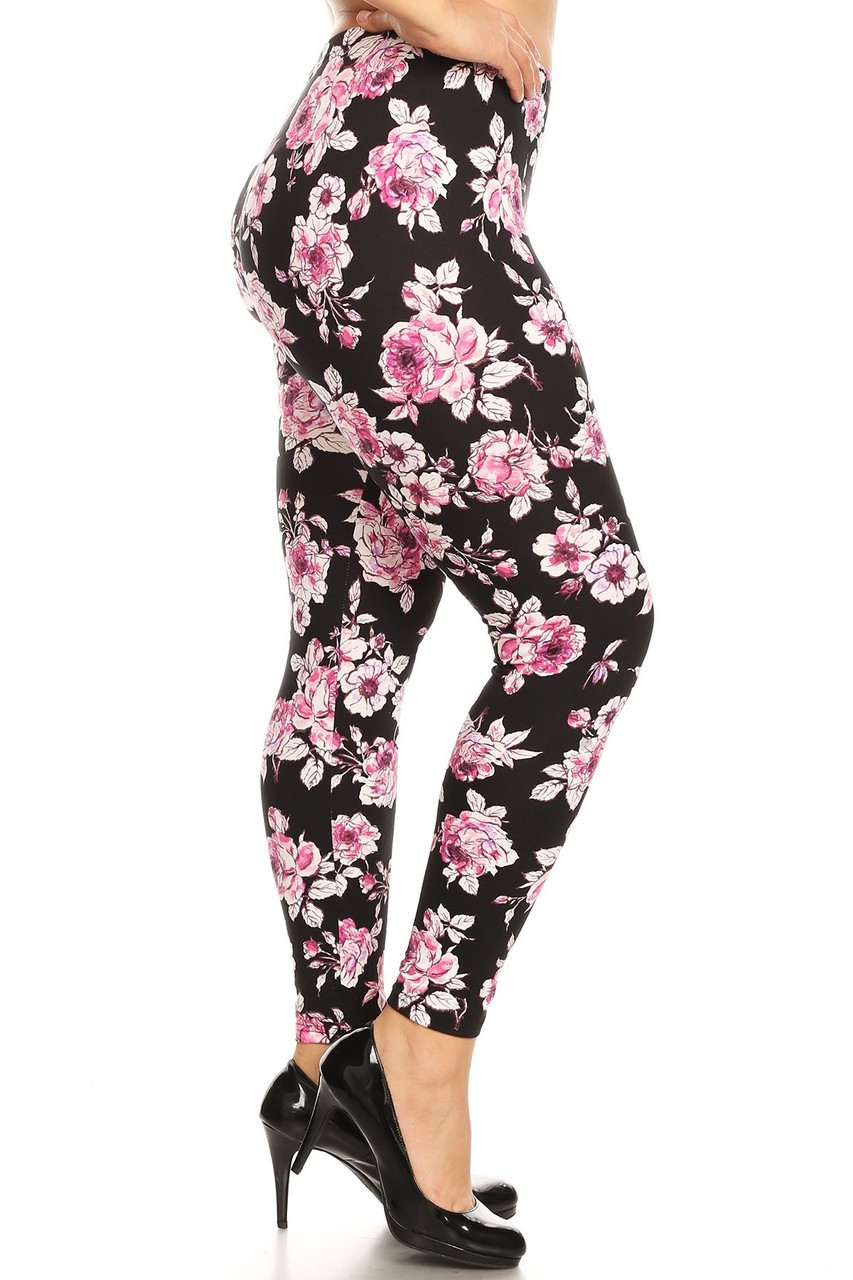 Buttery Soft Decadent Pink Floral Plus Size Leggings