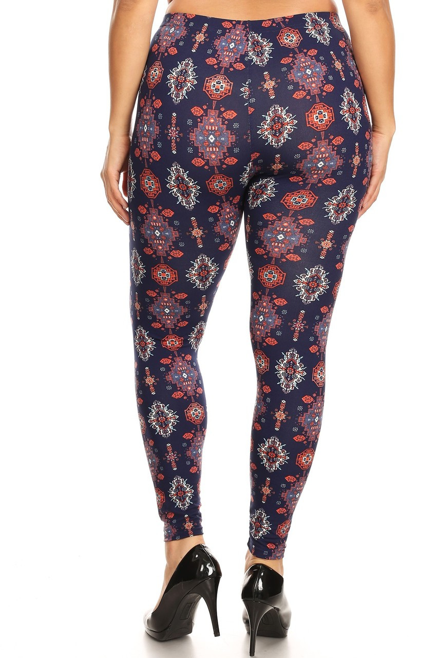 Buttery Soft Vertical Mayan Mirage Floral Plus Size Leggings