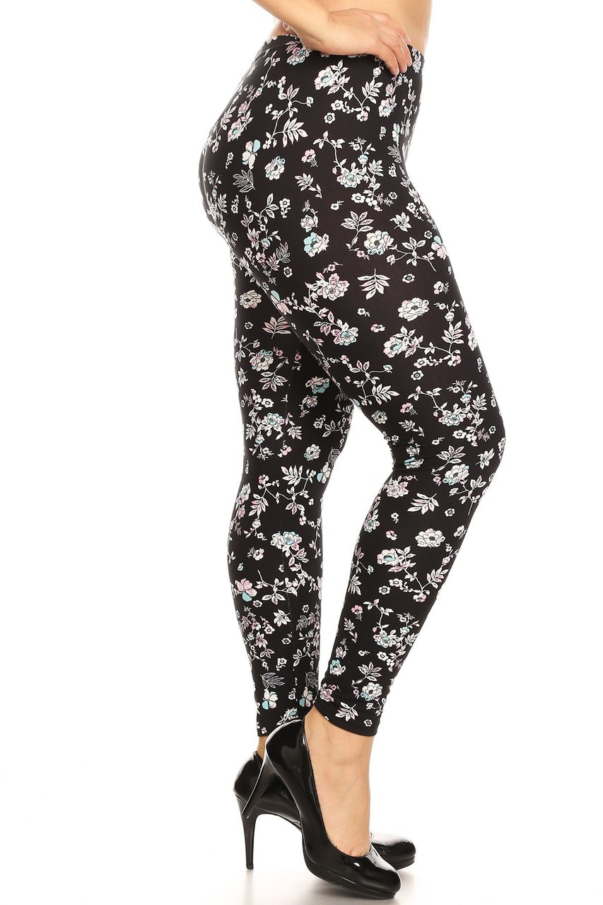 Buttery Soft Ebony Spring Floral Plus Size Leggings
