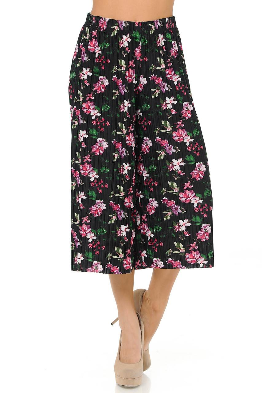 Fashion Casual Fuchsia Floral Pleated Gaucho Capris