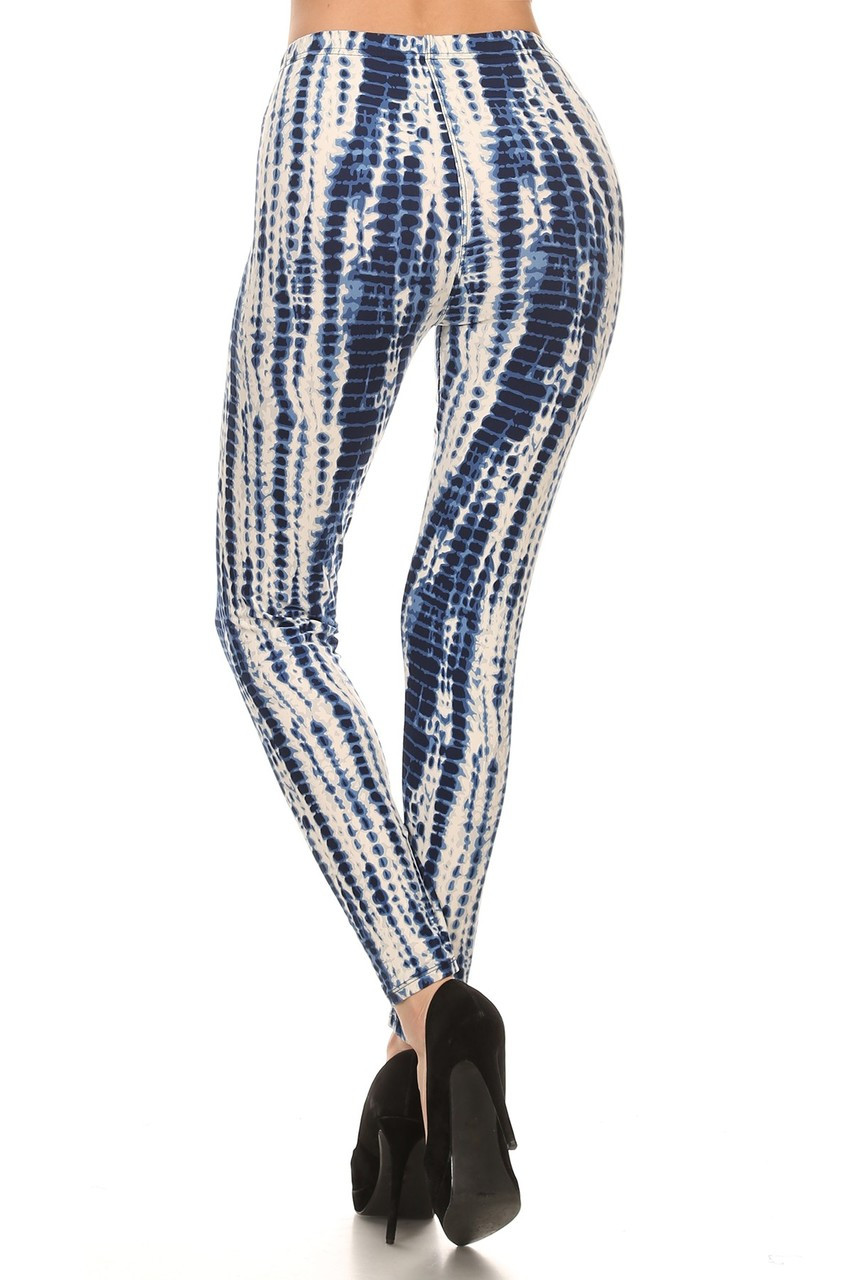 Buttery Soft Vertical Blue Tie Dye Leggings