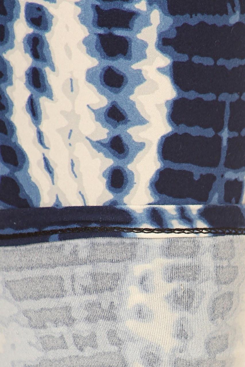 Buttery Soft Vertical Blue Tie Dye Plus Size Leggings