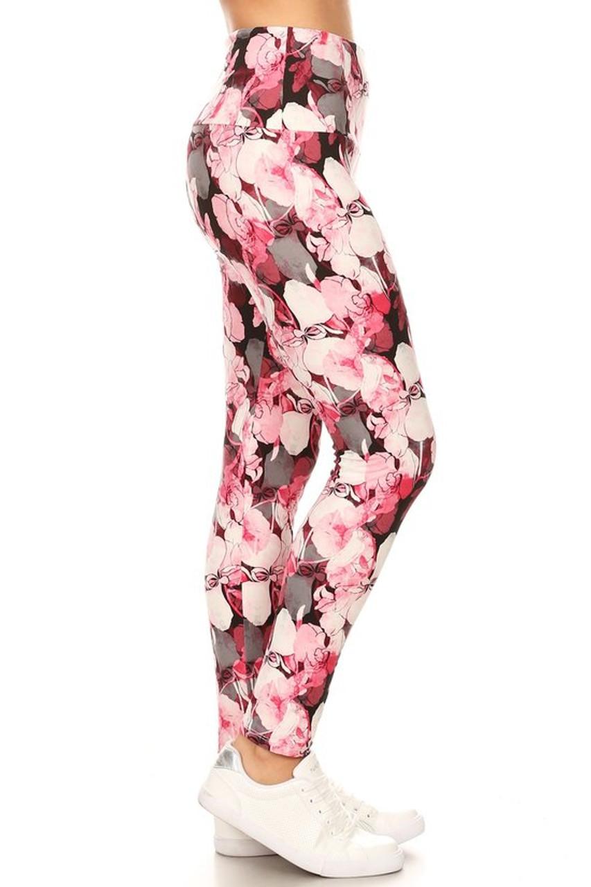 Buttery Soft Lavish Raspberry Rose High Waist Leggings