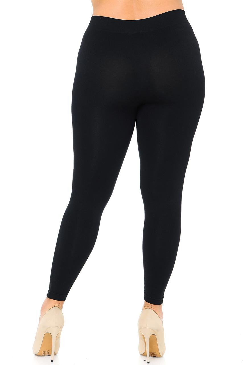 Nylon Spandex Solid Basic Plus Size Leggings