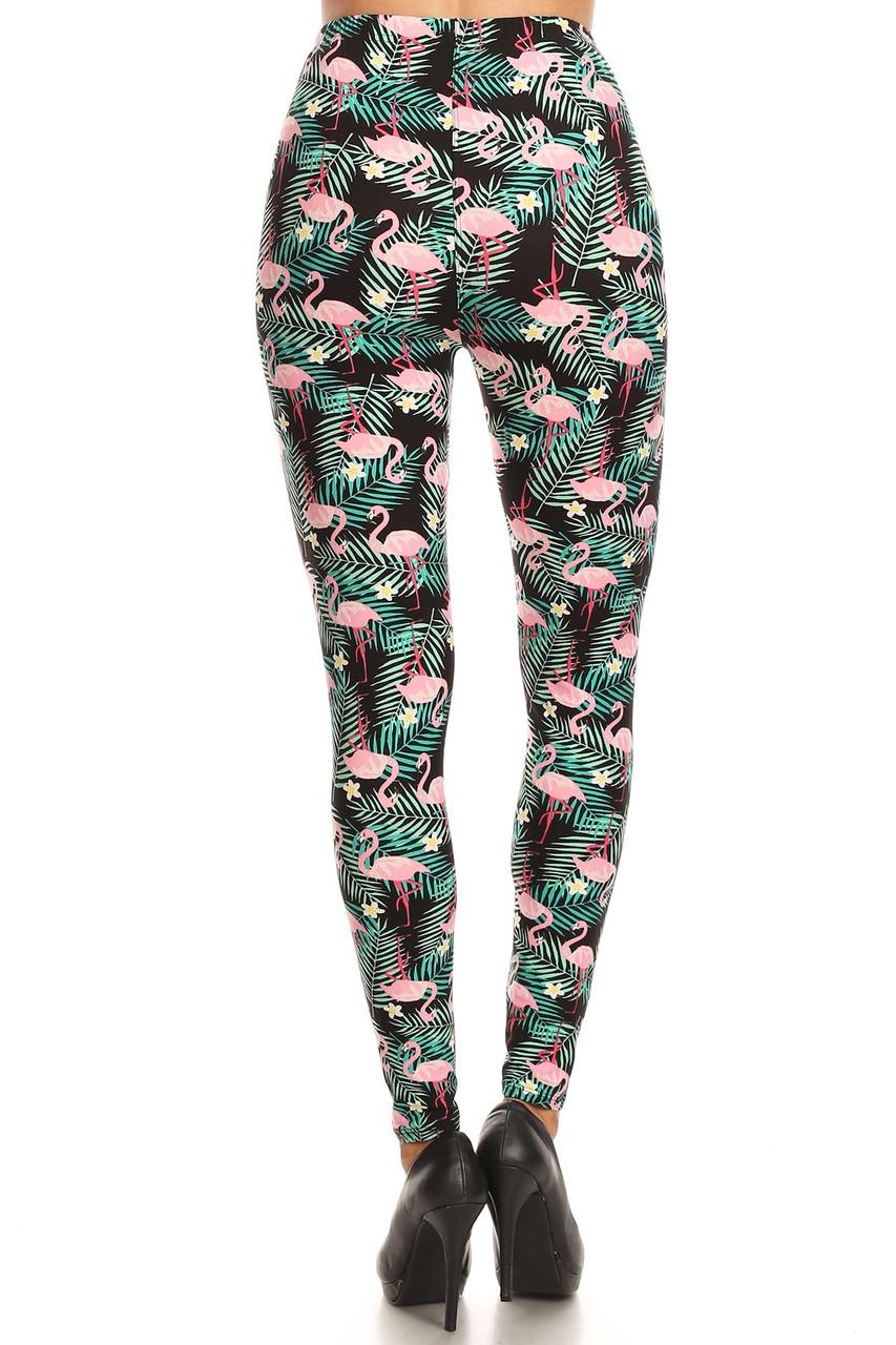 Buttery Soft Palm Frond Flamingo Plus Size Leggings - 3X-5X