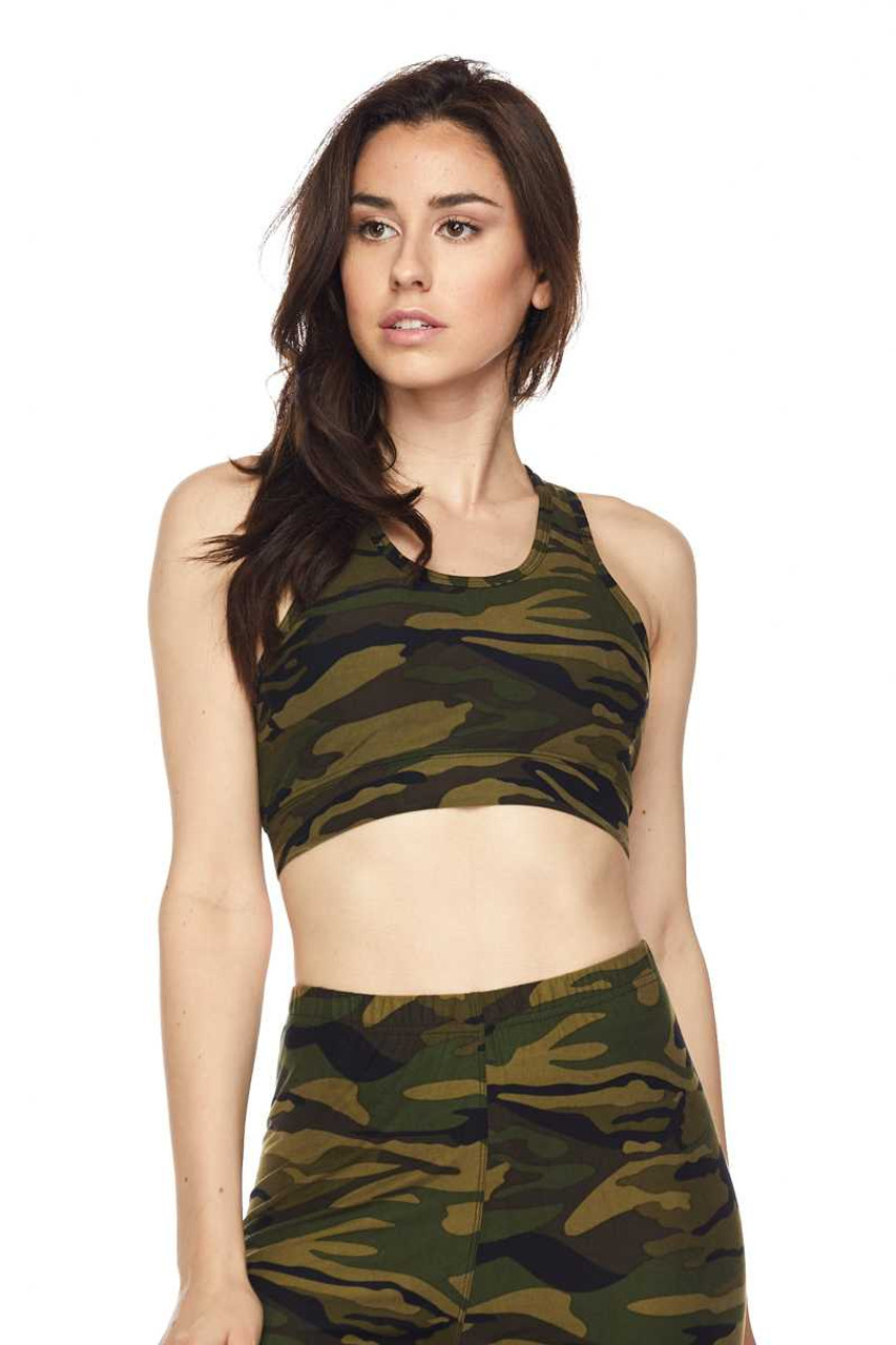 Buttery Soft Green Camouflage Women's Bra Top Front