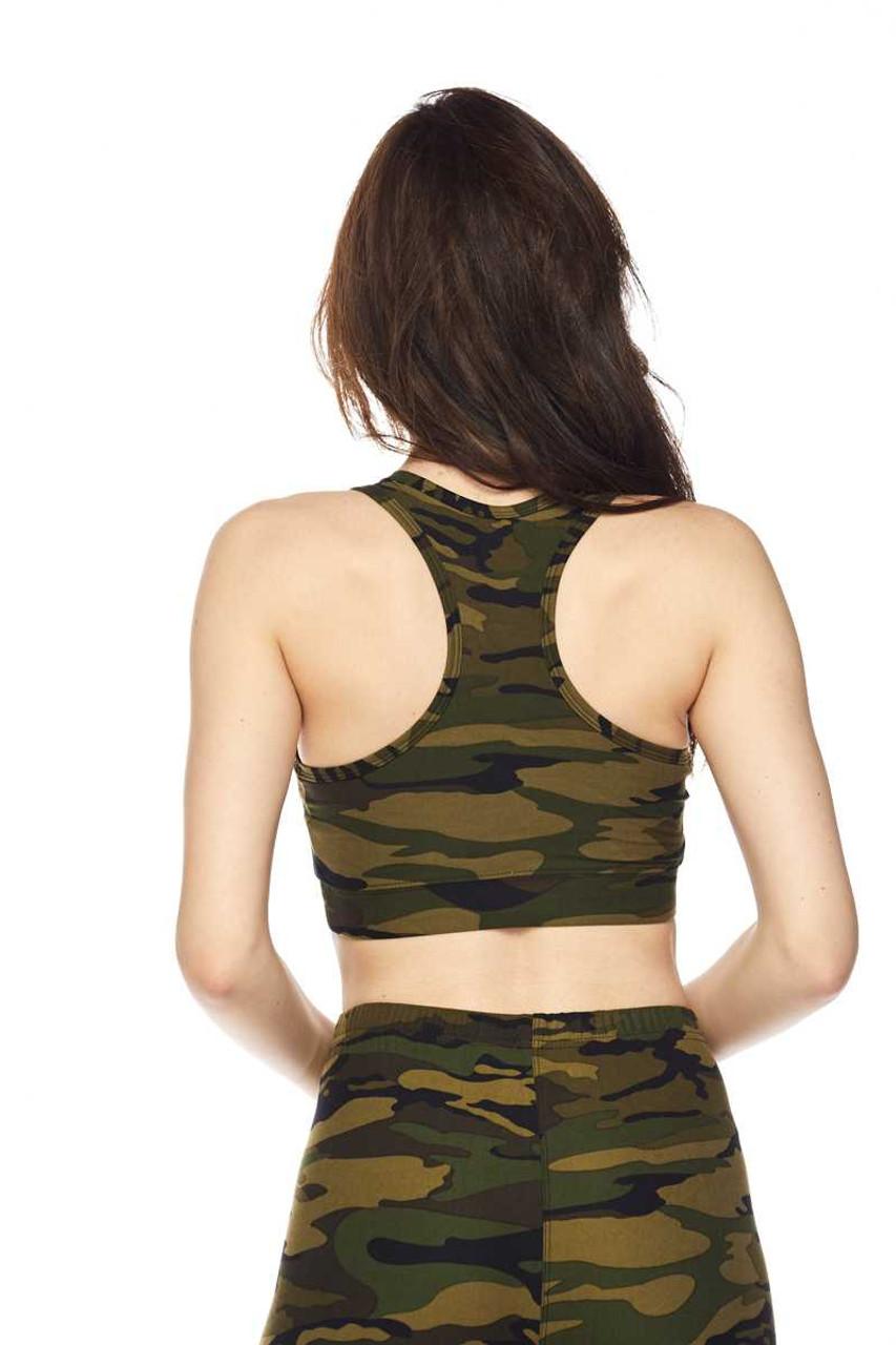 Buttery Soft Green Camouflage Women's Bra Top Back