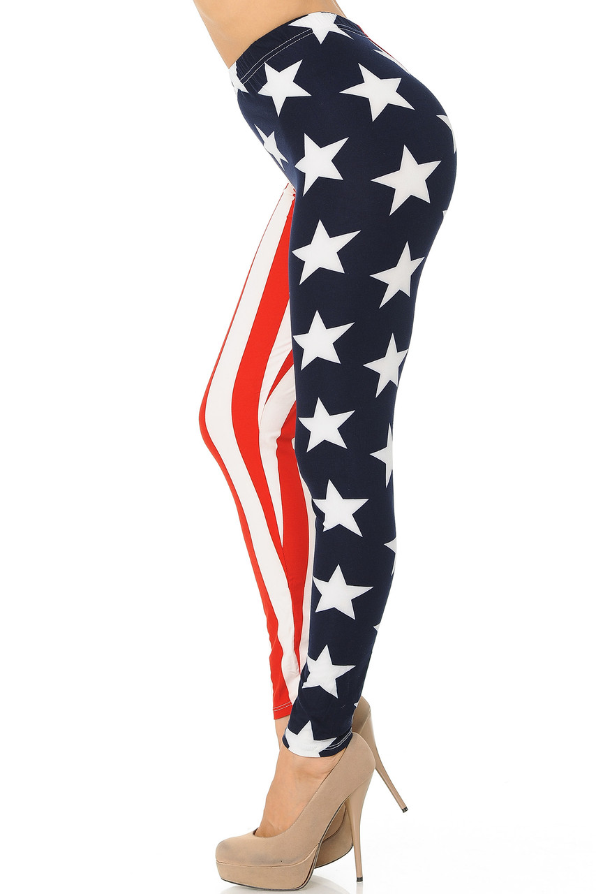 Buttery Soft USA Split Flag Plus Size Leggings