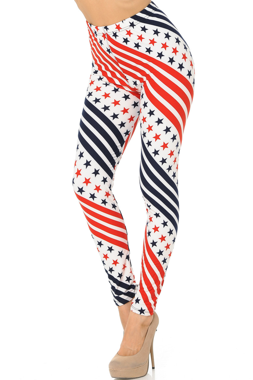 Buttery Soft Twirling Stars and Stripes USA Flag Leggings