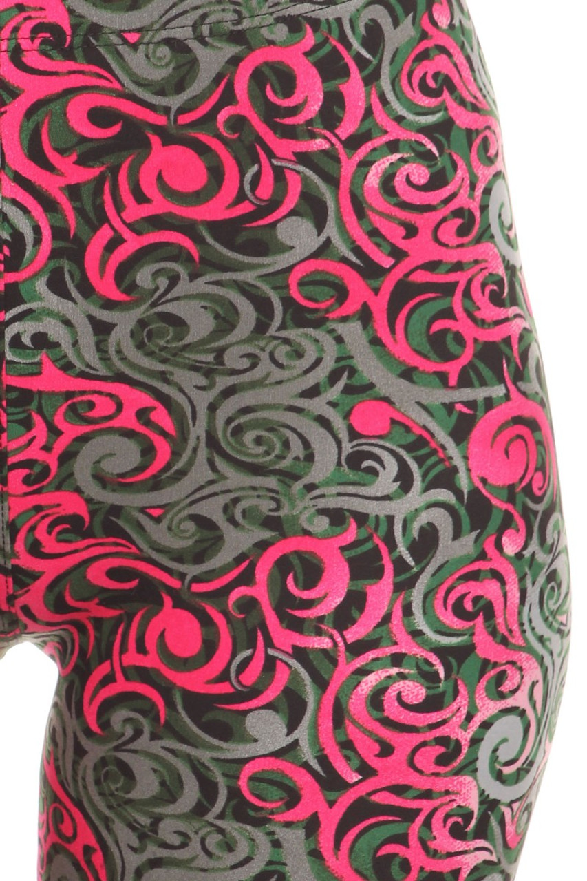 Close-up fabric image of  Buttery Soft Fuchsia Tangled Swirl Leggings