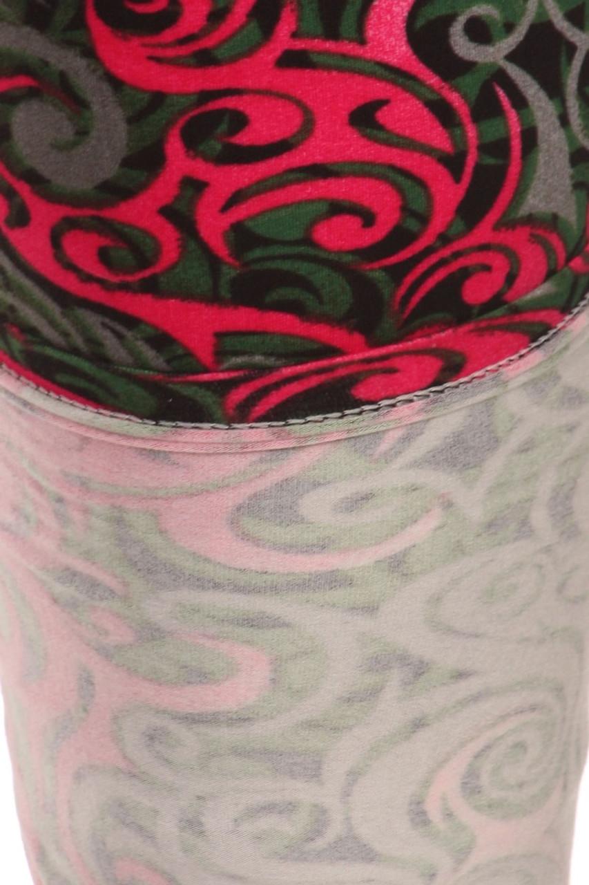 Close-up fabric image of Buttery Soft Plus Size Fuchsia Tangled Swirl Leggings