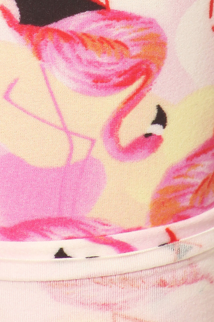 Close up of Buttery Soft Gorgeous Pink Flamingos Plus Size Leggings - 3X-5X