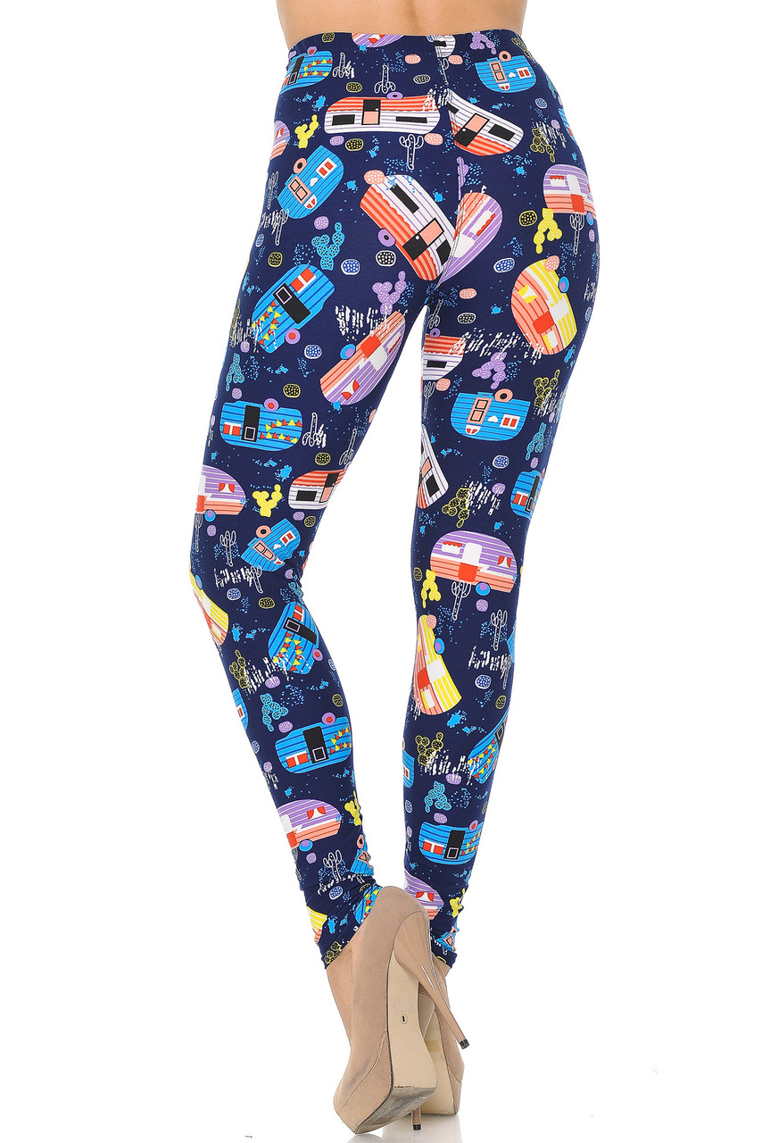 Buttery Soft Retro Campers Leggings - XSmall