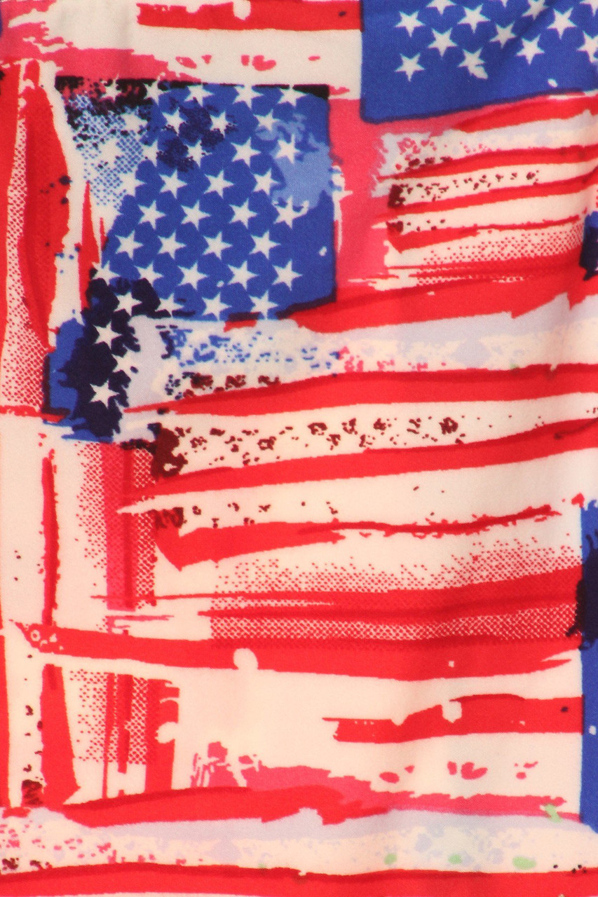 Close up of Buttery Soft Watercolor USA Flag Leggings