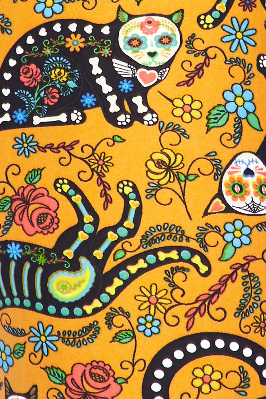 Buttery Soft Kitty Cat Mustard Sugar Skull Capris