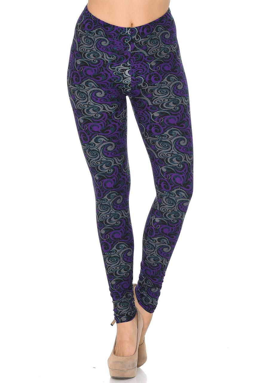 Buttery Soft Purple Tangled Swirl Leggings