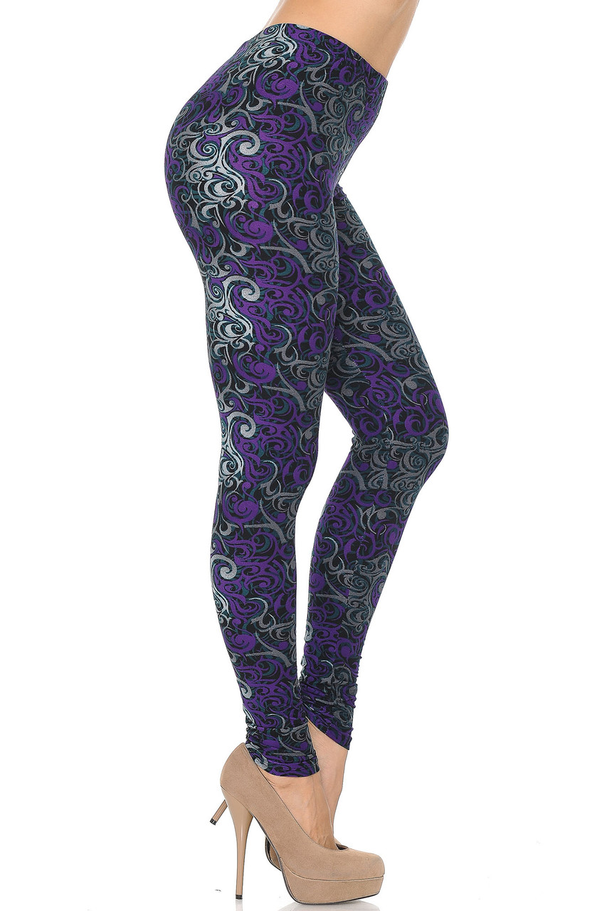 Buttery Soft Purple Tangled Swirl Plus Size Leggings