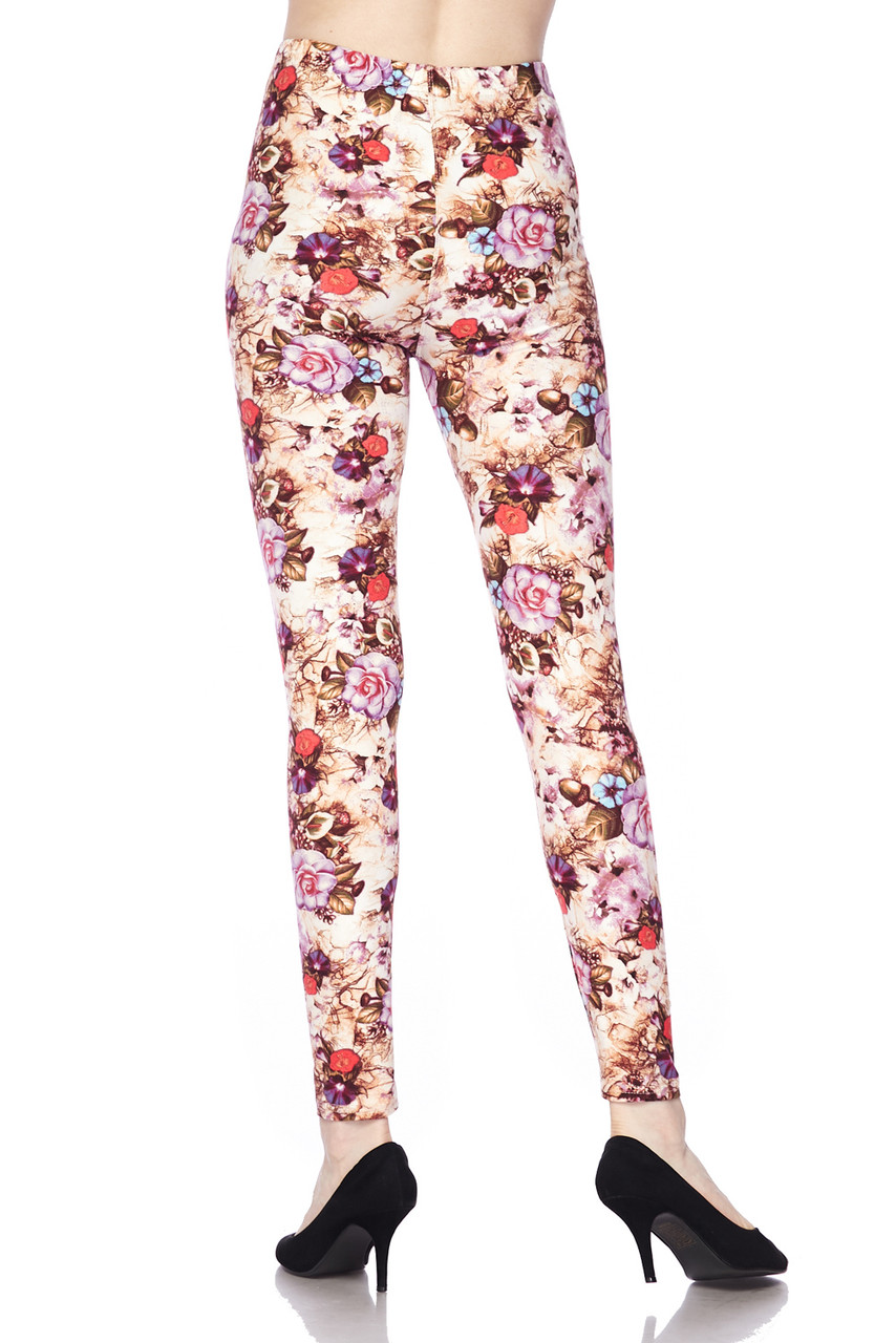 Buttery Soft Ginger Summer Floral Plus Size Leggings