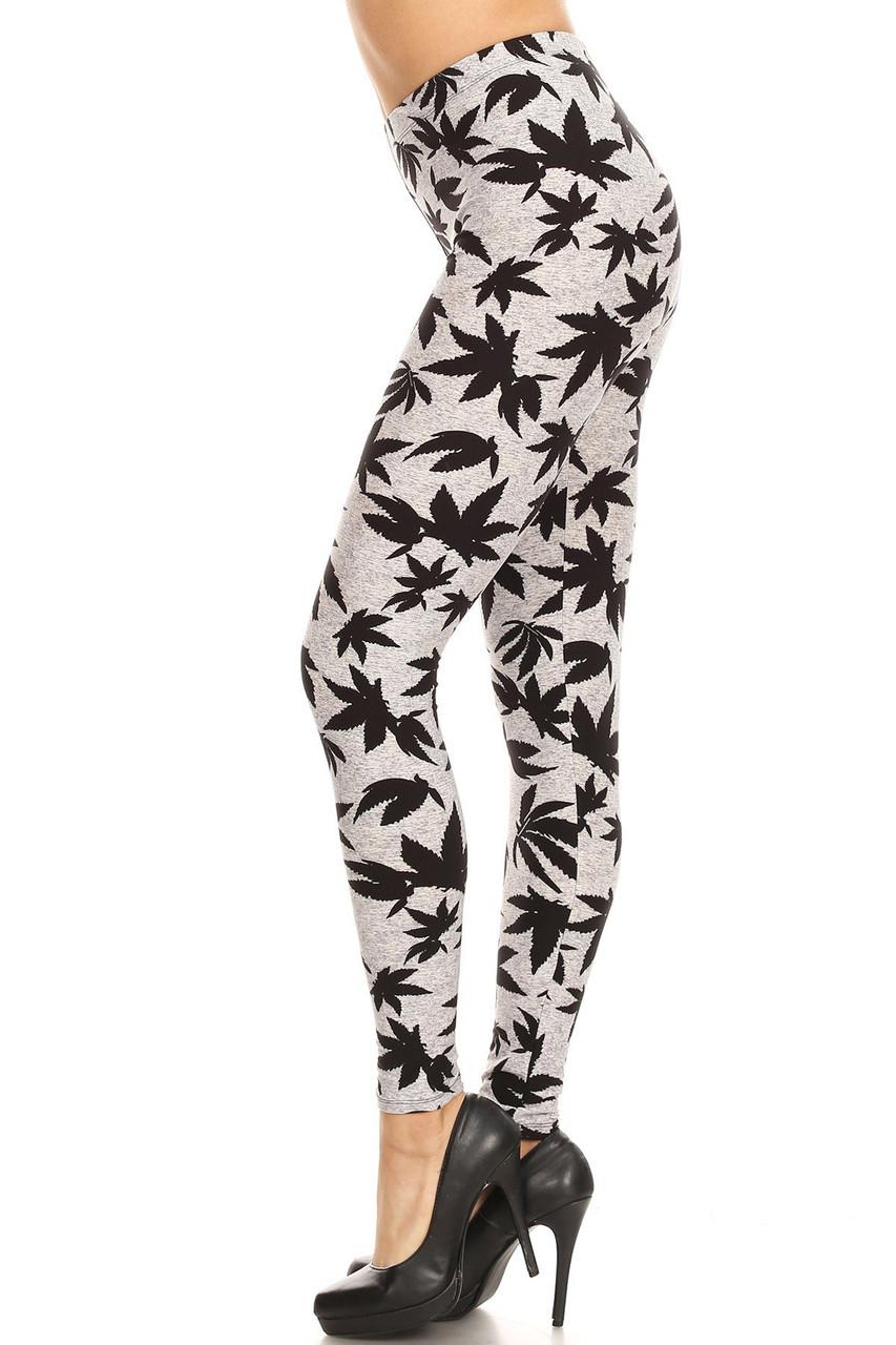 Buttery Soft Solid Heather Grey Marijuana Extra Plus Size Leggings - 3X-5X