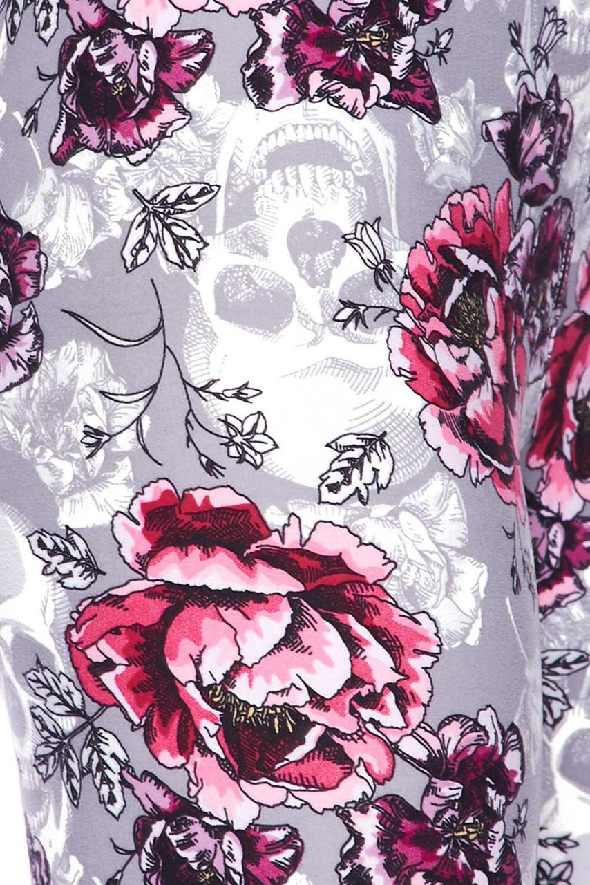 Buttery Soft Blooming Rose Skull Kids Leggings