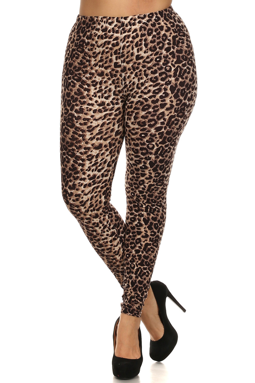 Front side image of Buttery Soft Feral Cheetah Plus Size Leggings