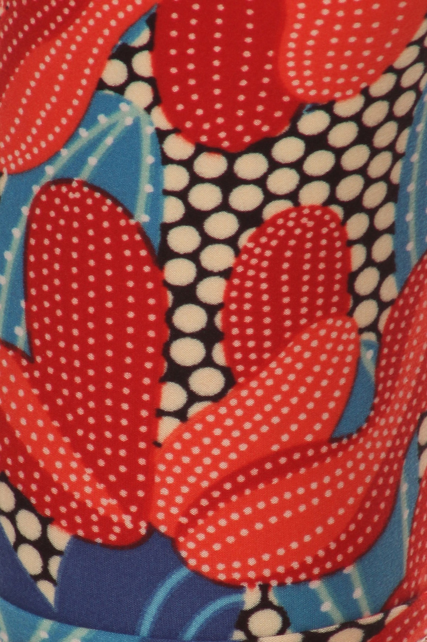 Buttery Soft Red and Blue Cactus Leggings