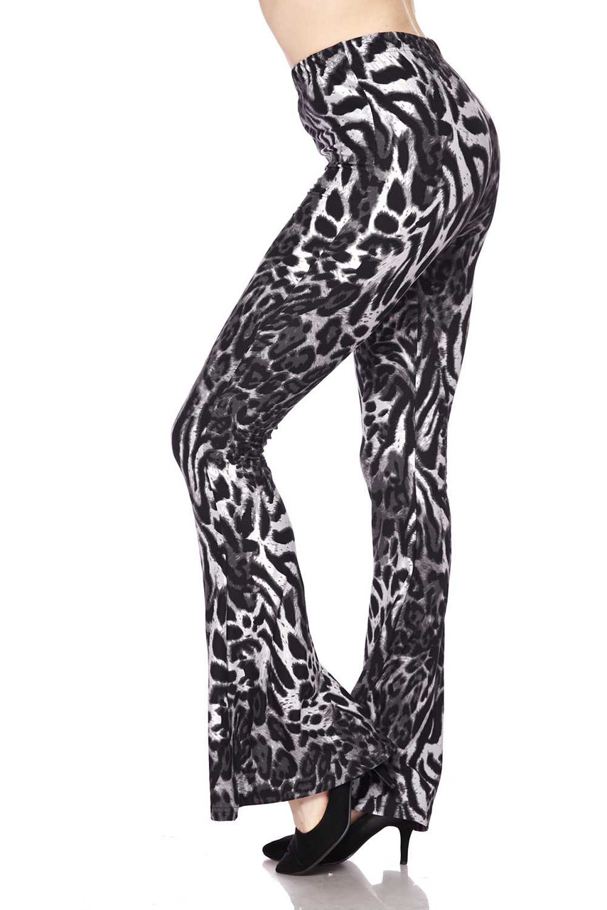 Buttery Soft Black and White Siberian Tiger Bell Bottom Leggings