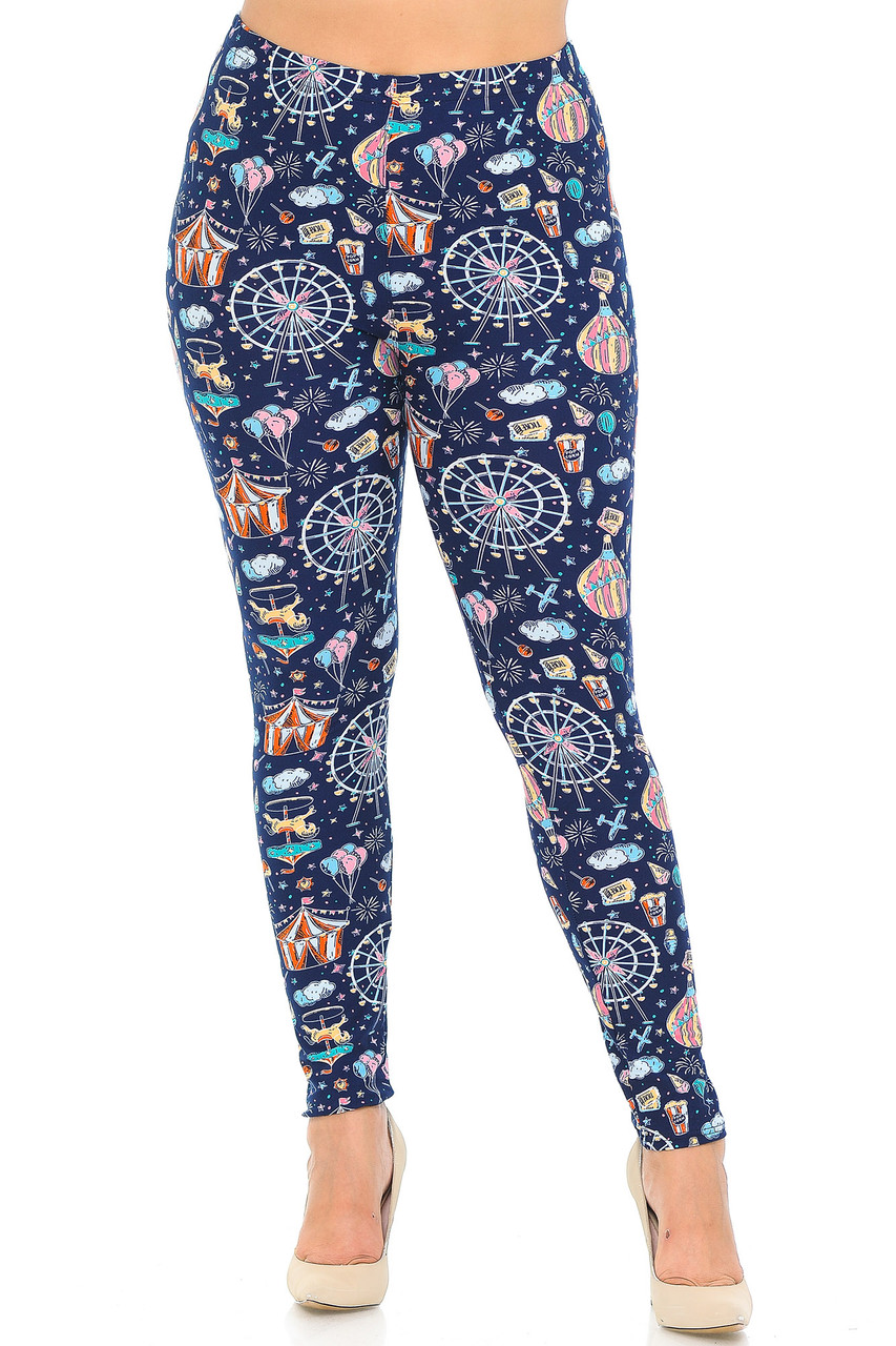 Buttery Soft Vintage Carnival Extra Plus Size Leggings - 3X-5X