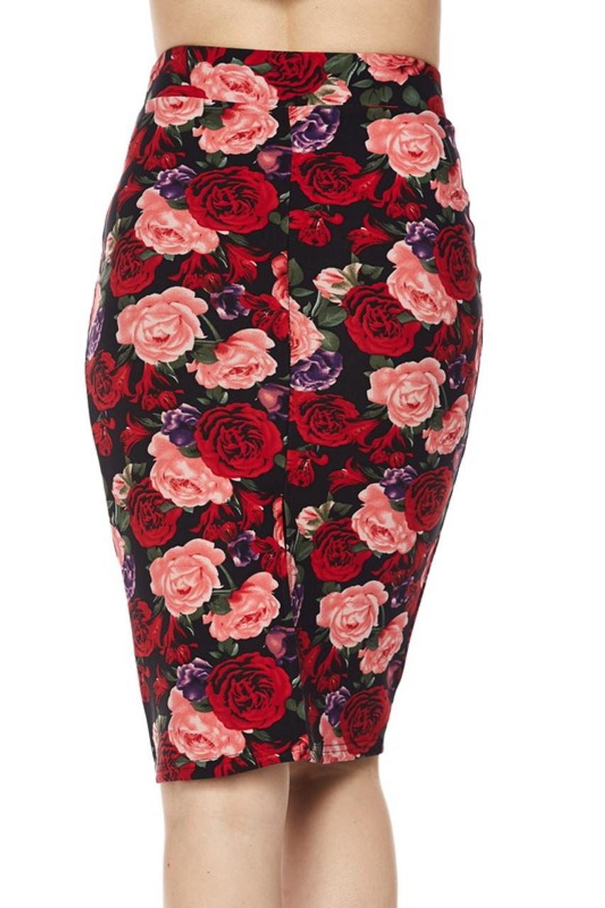 Silky Soft Vivid Rose Scuba Pencil Skirt